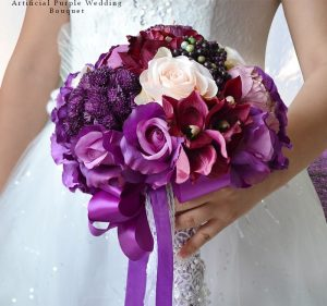 Artificial Purple Wedding Bouquet